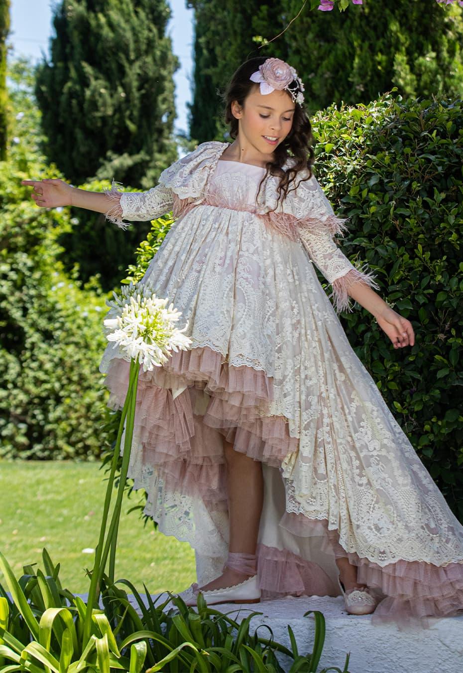 Vestido de comunión para niña 2021 Caracolero